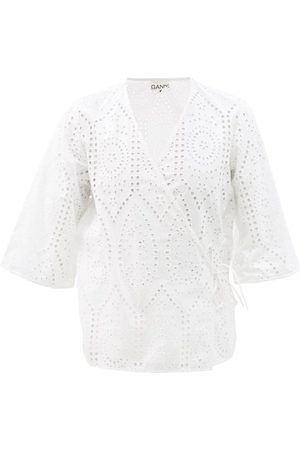 Ganni Broderie-anglaise Organic-cotton Wrap Top - Womens
