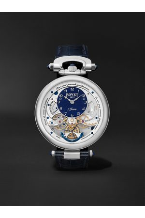 BOVET Men Watches - Monsieur Hand-Wound 43mm 18-Karat White Gold and Leather Watch, Ref. No. AI43018