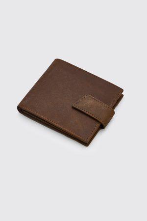 Boohooman Men Wallets - Mens Real Leather Tab Fasten Wallet