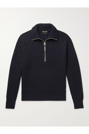 Tom Ford Men Sweaters - Slim-Fit Ribbed Cashmere and Wool-Blend Half-Zip Sweater