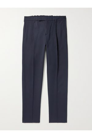 DUNHILL Tapered Pleated Cotton and Mulberry Silk-Blend Trousers