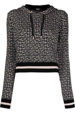 Balmain Women Hoodies - PB monogram jacquard cropped hoodie