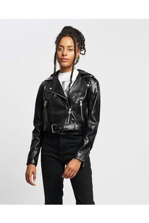 Calvin Klein Hooded Faux Leather Biker Jacket - Coats & Jackets (CK ) Hooded Faux Leather Biker Jacket