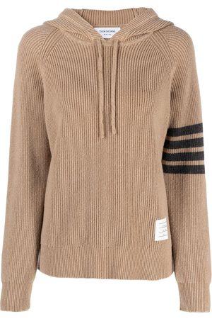 Thom Browne Women Hoodies - 4-Bar garment dye half cardigan stitch hoodie