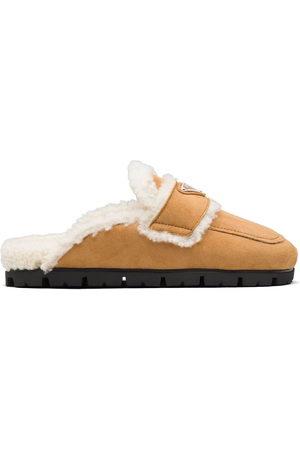 Prada Women Shoes - Triangle logo lined slippers