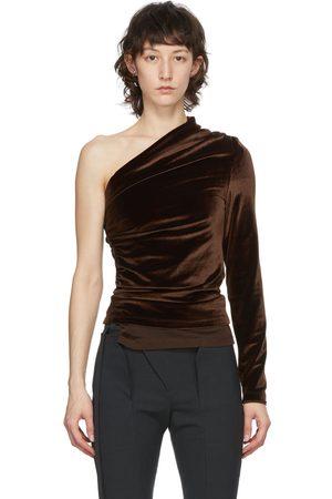 Supriya Lele Velvet Ruching Off-Shoulder Blouse