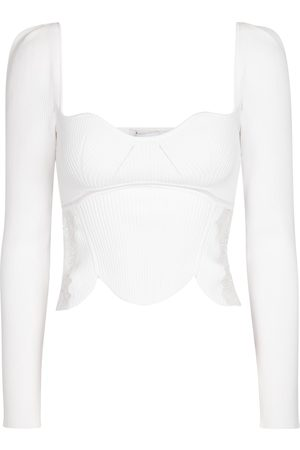 Self-Portrait Lace-trimmed ribbed-knit top