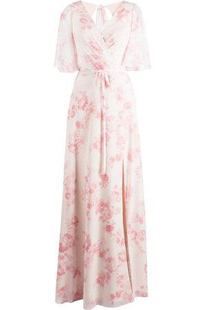 Marchesa Notte Floral-print short-sleeve gown