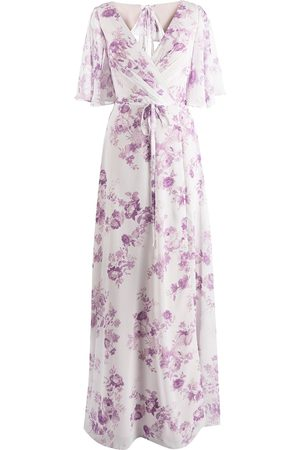 Marchesa Notte Floral-print rear-tie gown