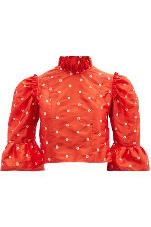BATSHEVA Women Crop Tops - Floral-embroidered Silk-taffeta Cropped Top - Womens - Multi