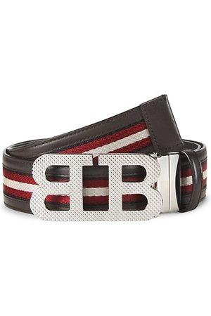 Bally Mirror BB Stripe Leather Textile Belt