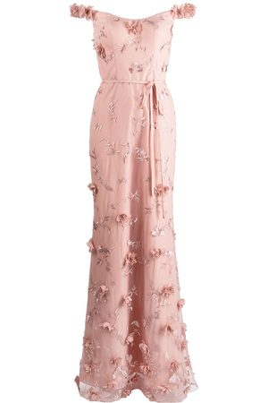 Marchesa Notte Bridesmaids Floral-embroidered maxi gown