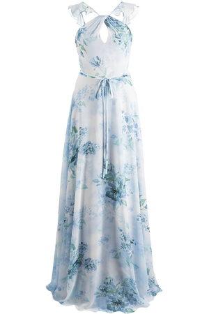 Marchesa Notte Bridesmaids Floral-print cut-out gown