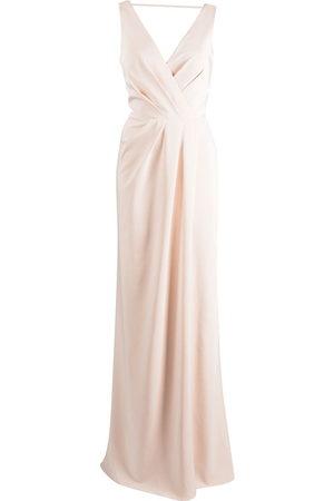Marchesa Notte Bridesmaids Cowl-back floor-length gown
