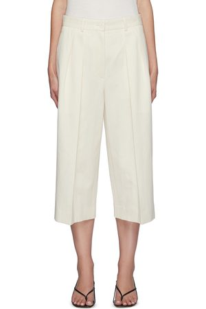 The Row Pleated cotton-linen blend palazzo shorts