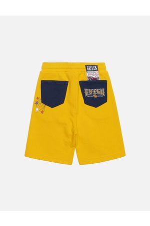 Evisu Shorts - Godhead Print Color Blocking Sweat Shorts