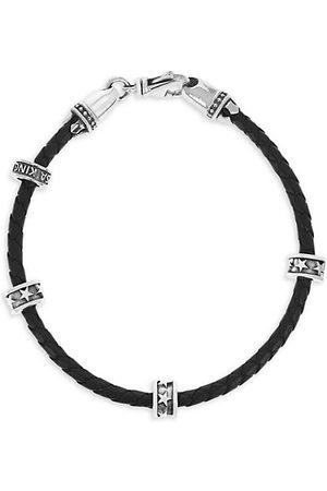 King Baby Studio Men Bracelets - Onyx Story Micro Stackable Star RingLeather Wrap Bracelet