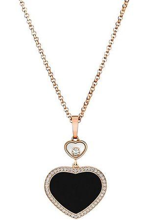 Chopard Happy Diamonds Happy Hearts 18K Rose Gold, Diamond & Onyx Pendant Necklace