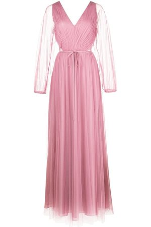 Marchesa Notte Puff-sleeve sheer-panel gown