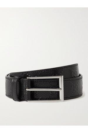 Gucci Men Belts - 3cm Logo-Embossed Perforated Leather Belt