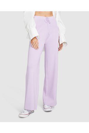 Don't Ask Amanda Women Joggers - Tia Knit Pants Lilac