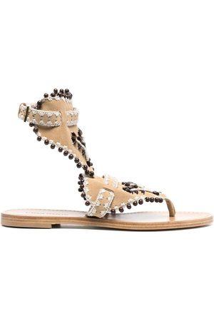 Alberta Ferretti Women Sandals - Bead-embellished leather sandals