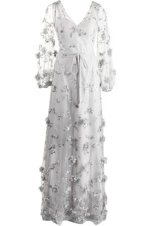 Marchesa Notte Women Evening Dresses - Floral-detail puff-sleeve gown