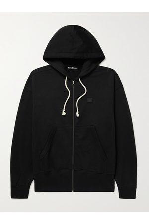 Acne Studios Men Hoodies - Logo-Appliquéd Cotton-Jersey Zip-Up Hoodie
