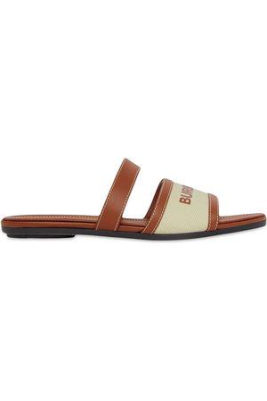 Burberry Women Sandals - Logo-strap flat sandals