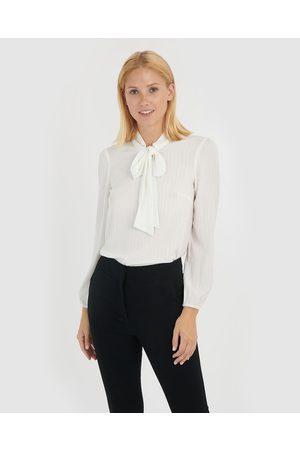 Forcast Women Blouses - Bennie Tie Neck Blouse - Tops (Ivory) Bennie Tie Neck Blouse