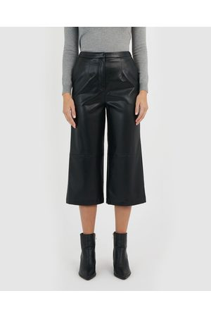Forcast Sana Faux Leather Culottes - Pants Sana Faux Leather Culottes