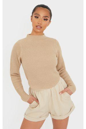 PRETTYLITTLETHING Women Sweaters - Petite Stone High Neck Curve Hem Long Sleeve Jumper