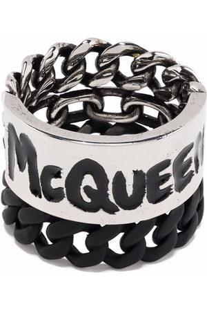 Alexander McQueen Graffiti curb chain ring