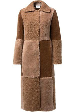 AKRIS Wool Faux Fur Patchwork Mantel Coat