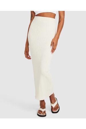 Subtitled Women Midi Skirts - Charlotte Knit Midi Skirt Oatmeal