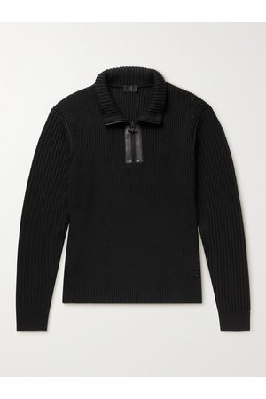 Dunhill Leather-Trimmed Ribbed Wool Half-Zip Sweater