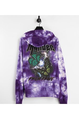 COLLUSION Unisex oversized hoodie with grunge butterfly print in purple tie dye