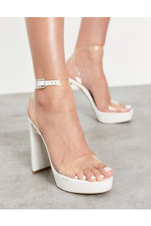 ASOS Natasha platform barely there heeled sandals in clear