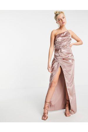 Little Mistress One-shoulder drape maxi satin dress with split in oyster grey