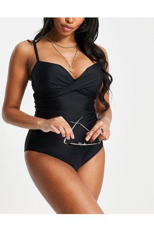 Pour Moi Women Swimsuits - Fuller Bust twist front swimsuit in black