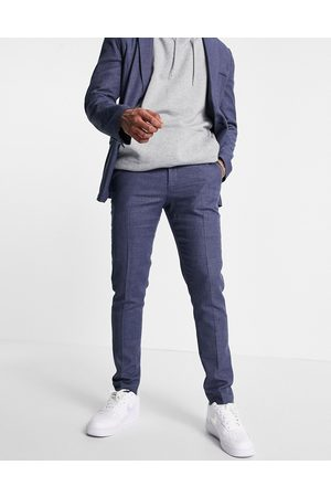 ASOS Skinny soft tailored suit pants in navy linen blend