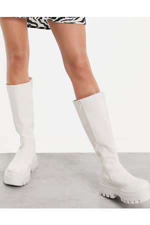 ASOS Cora chunky knee boots in off white