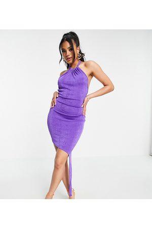 AsYou Halter dress with asymmetric knot hem in purple