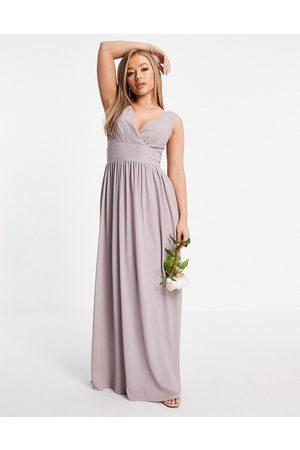 TFNC Women Party Dresses - Bridesmaid top wrap chiffon dress in light grey