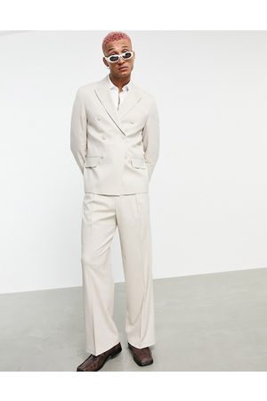 ASOS Wide Leg Pants - Wide leg suit pants in beige-Neutral