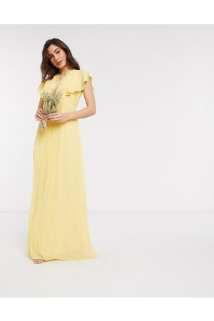 TFNC Women Maxi Dresses - Bridesmaid lace detail maxi dress with flutter sleeve in lemon-Yellow