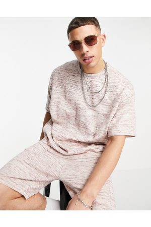 ASOS Knitted linen mix T-shirt co-ord in pink space-dye yarn