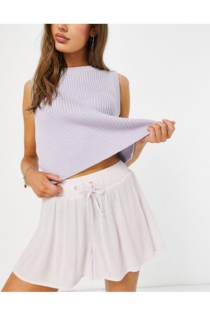 ASOS Crinkle short with tie waist in lilac-Purple