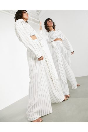 ASOS Wide-legged pants with tie waist in stripe-White