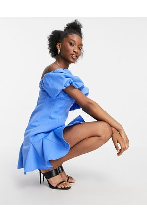 ASOS Puff sleeve bandeau mini dress with godets in blue